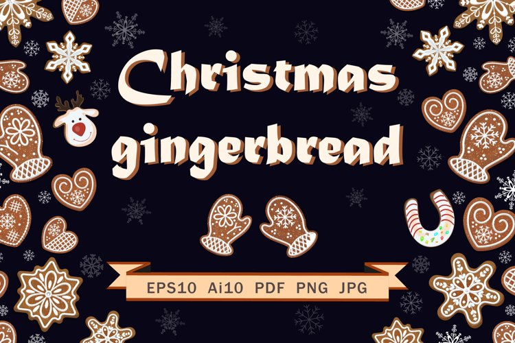 Set of Christmas gingerbread. example image 1