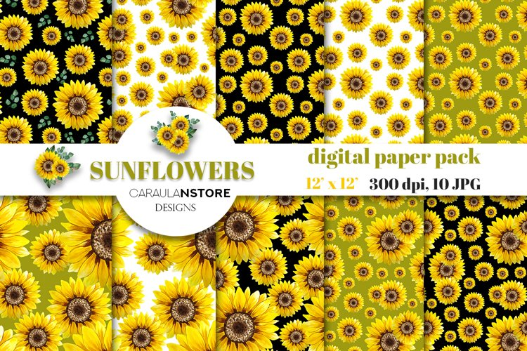 Watercolor Sunflower DIGITAL PAPER collection JPG