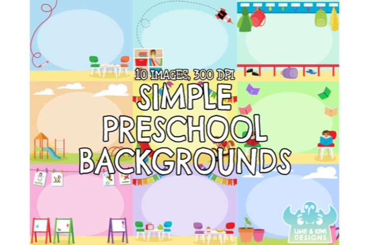 Simple Preschool Backgrounds - Lime and Kiwi Designs