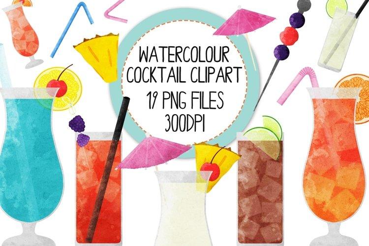 Watercolor Cocktails Clip Art Set