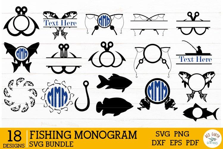 Fishing monogram frames bundles SVG,fish split monogram SVG