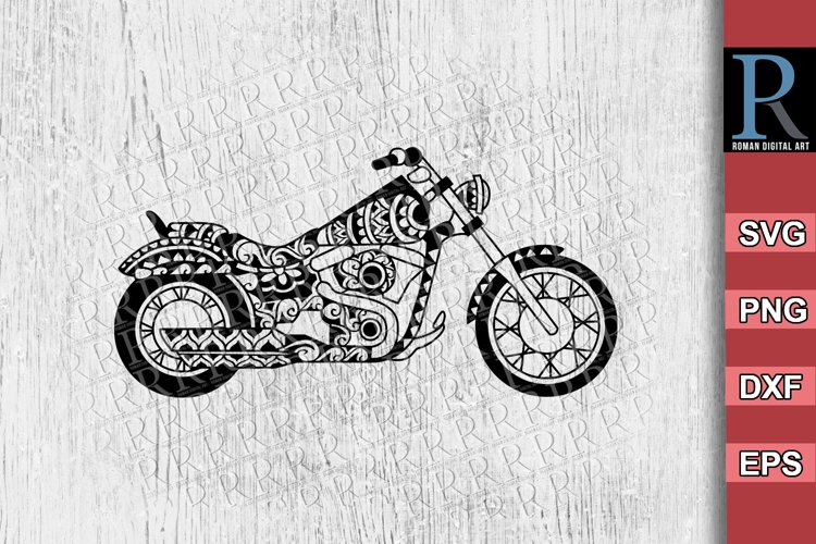 Mandala Motorcycle SVG File, Zentangle Motorbike SVG File