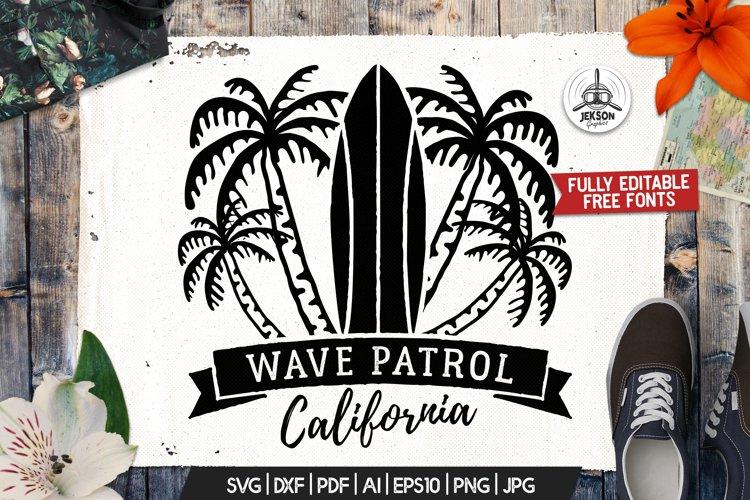 Surf Patrol Adventure Badge, Vintage Summer Logo SVG File example image 1