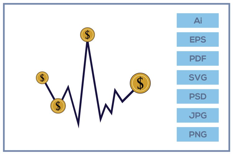 Vector of trading wave chart logo design example image 1