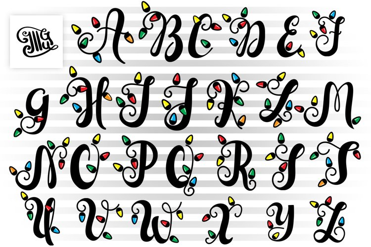 Christmas lights letters svg for Christmas Monograms example image 1