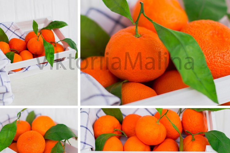 Bright tangerines in a white small box on a white background