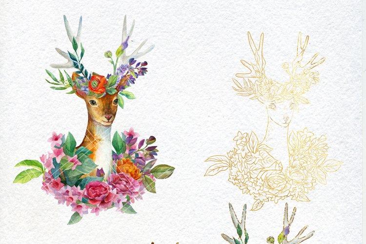 Watercolor floral deer printable clipart, golden graphics example 1
