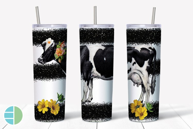 Skinny Tumbler Sublimation Designs - Cow Yellow Flowers