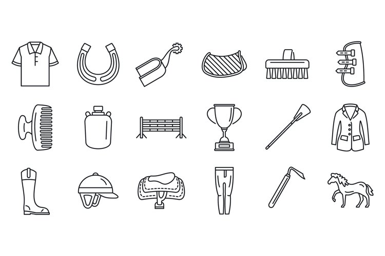 Horseback riding gear icon set, outline style example image 1