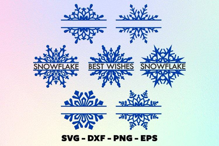 Snowflake split monogram svg, Christmas ornaments