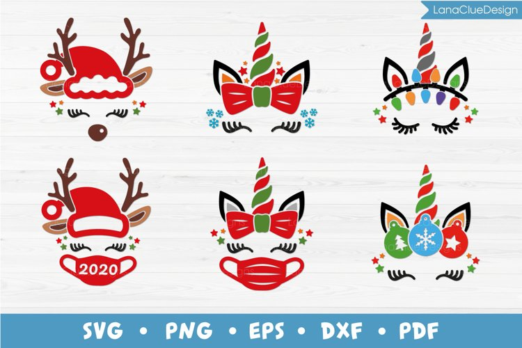 6 Christmas Unicorn and Reindeer Faces - SVG PNG DXF EPS PDF example image 1