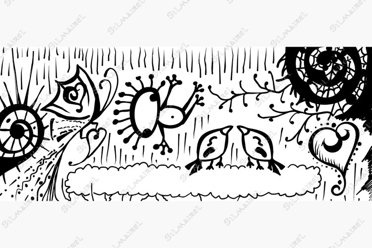 Dreamland ink line art hand drawn banner vector example image 1