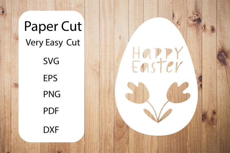 Happy Easter SVG. Egg Paper Cut SVG.Papercut Easter.Easy SVG example image 1
