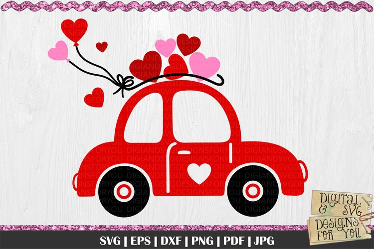 Love Bug Car with Hearts SVG | Valentines Car SVG | Love Car example image 1