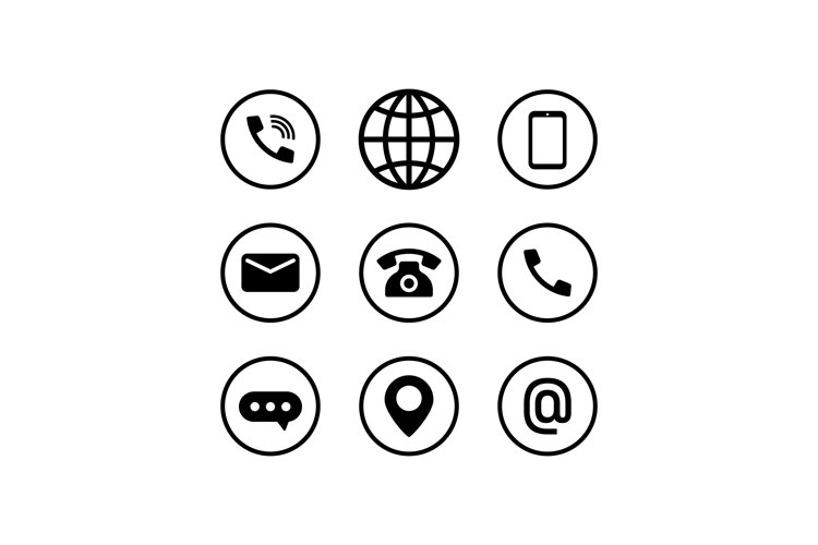 Communication icon set in black. Call, browser, phone example image 1