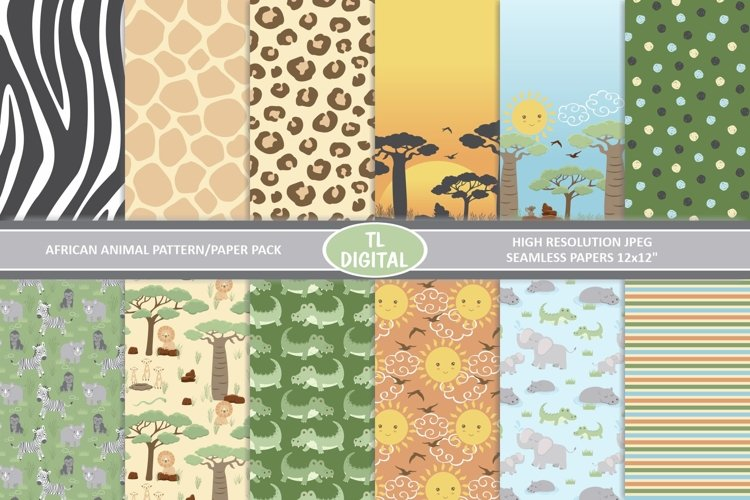 African Animals and Prints - 12 Seamless Patterns - JPEG example image 1