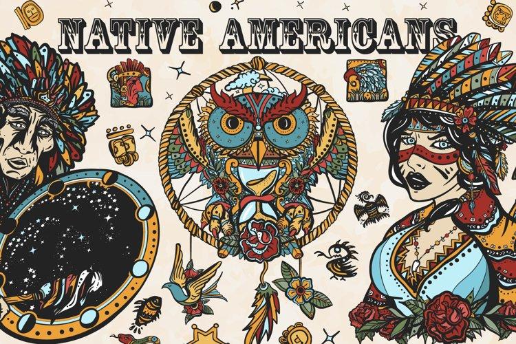 Native Americans old school tattoo