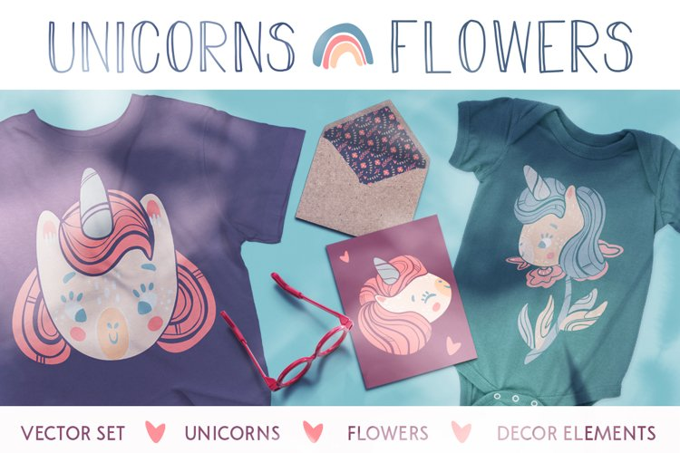 Unicorns and flowers example image 1