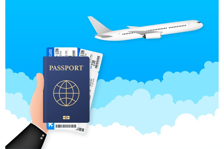 Passport for travel and tourism. Passport in hand. Man holds example image 1
