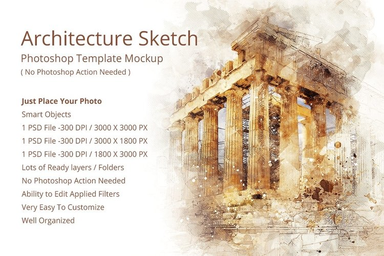 Architecture Sketch Photoshop Mock-ups example image 1