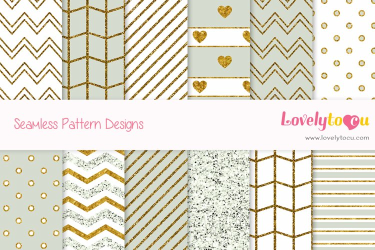 Gold and Olive feminine seamless pattern backgrounds example image 1