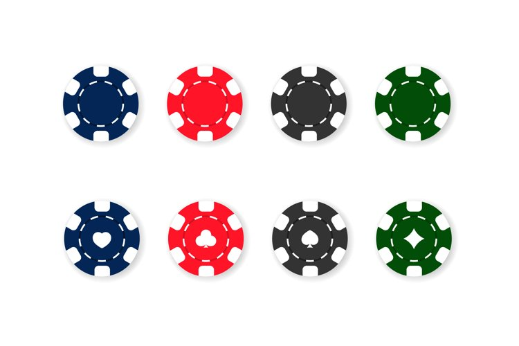 Casino chips icon set. Poker. Blue, red, black and green example image 1