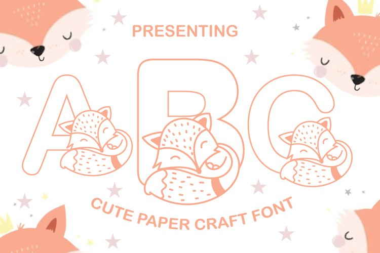 Baby Fox Cute Papercut Style Coloring Book Font example image 1