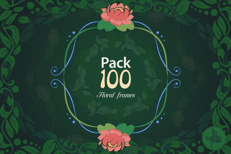 Pack of 100 Floral Frames, vector clipart bundle example image 1