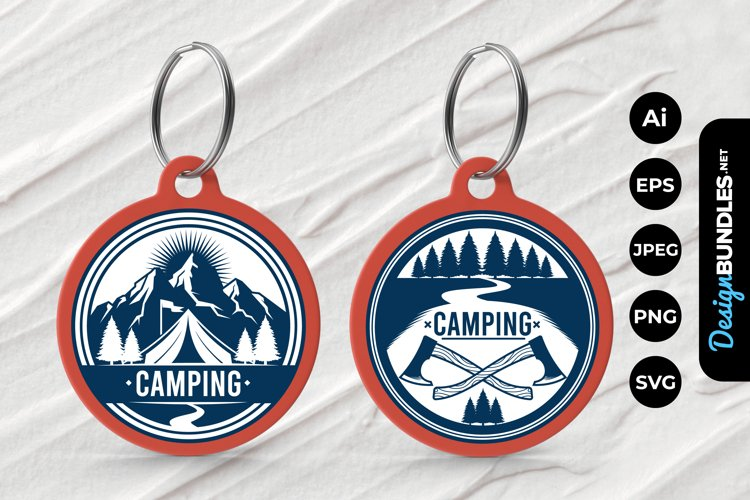 Camping Badge Keychain example image 1