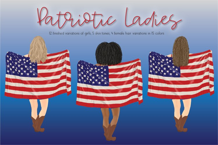 United States Patriotic Ladies Clipart Set example image 1