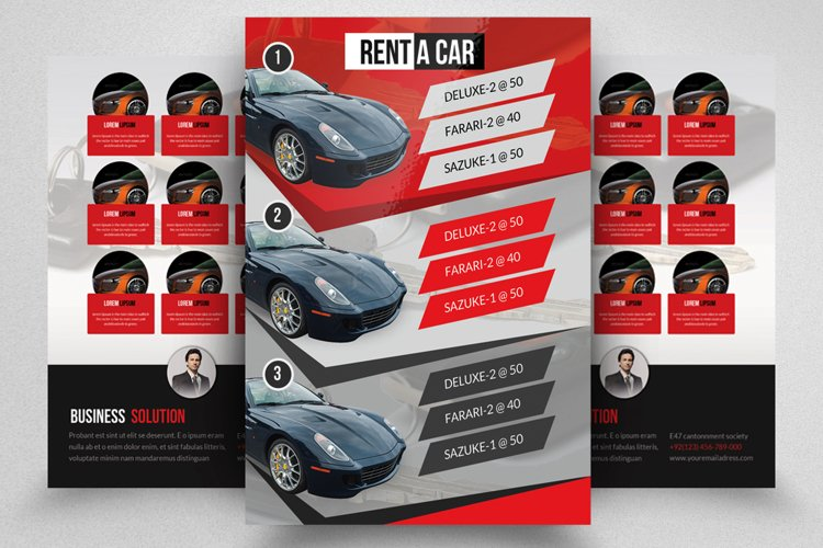 Double Sided Rent A Car Business Flyer example image 1