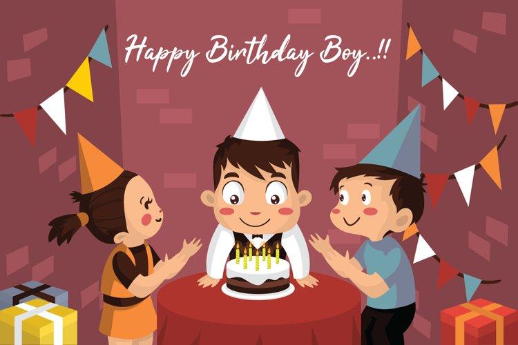 Boy Happy Birthday - Vector Illustration