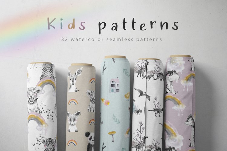Watercolor kids patterns