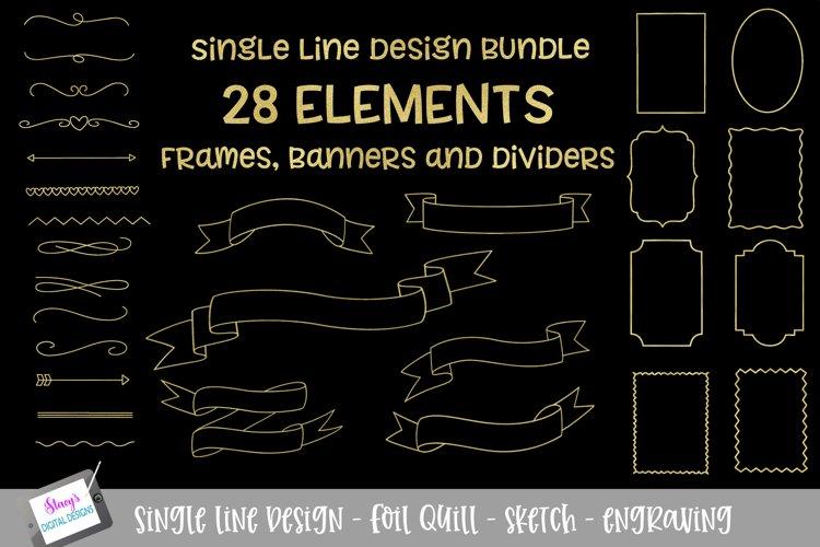 Foil Quill - Single Line Bundle - 28 Elements - Sketch files