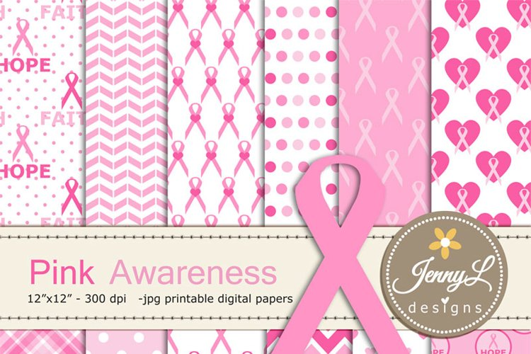 Breast Cancer Awareness Digital Papers example image 1