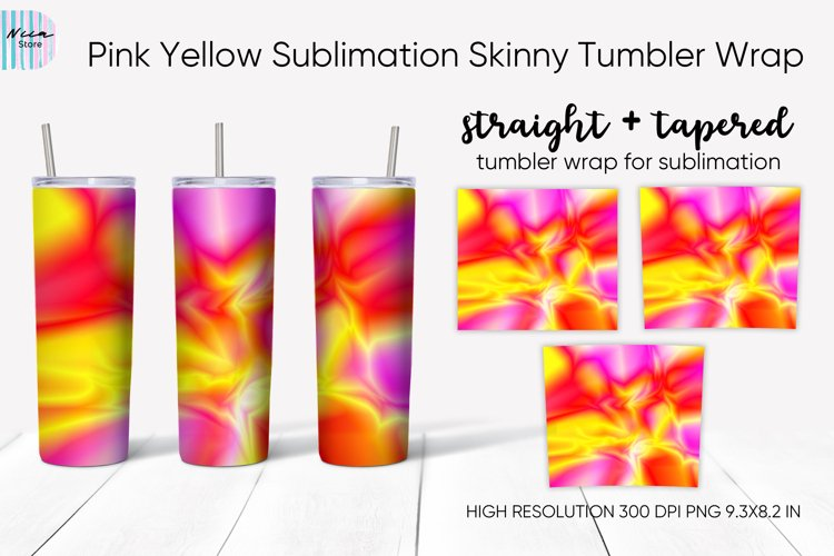 Pink Yellow Abstract Sublimation Skinny Tumbler Wrap 20 Oz example image 1