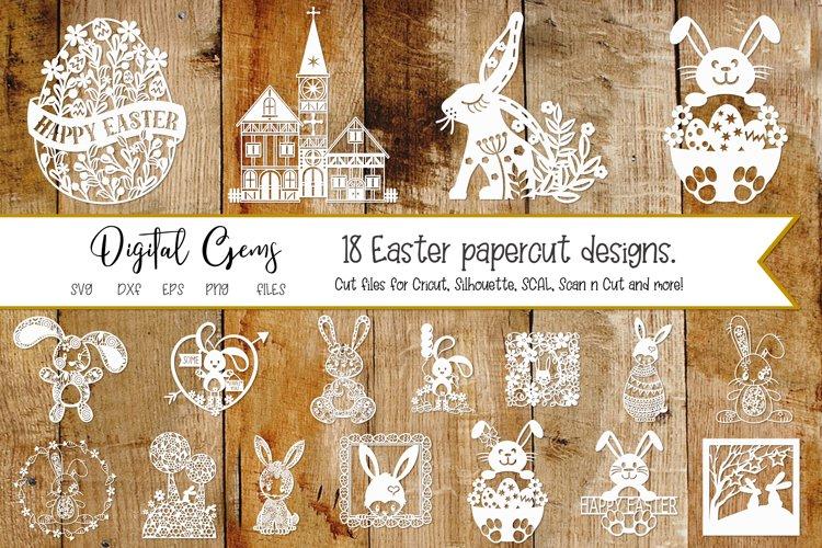 Easter / Rabbit paper cut Bundle SVG / DXF / EPS / PNG files