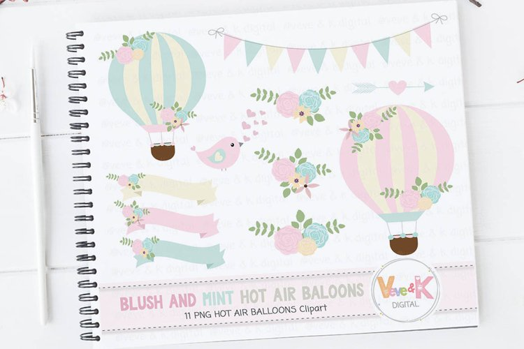 Hot Air Balloons Clipart, Blush And Mint Hot Air Balloon Clipart, wedding invitations clipart, baby showers, birthday parties, scrapbooking