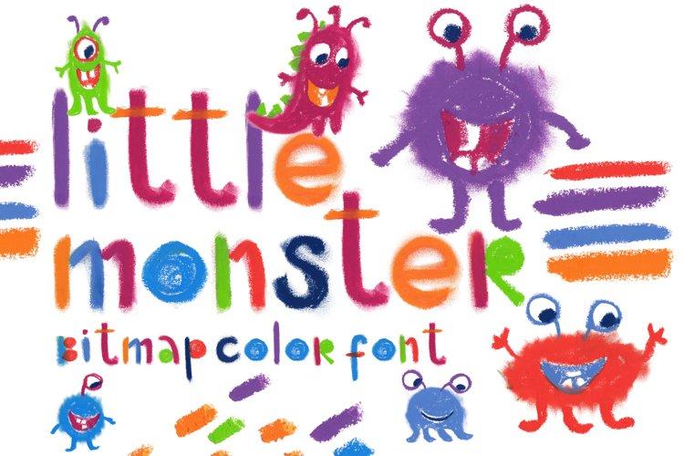"""Little monster"" bitmap color font example image 1"