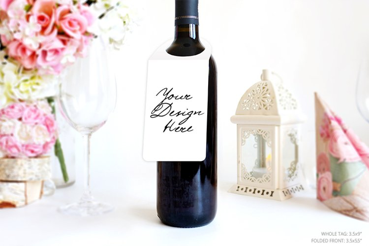 Bottle neck tag mockup, Wine Label mockup, Gift Tag, 1091