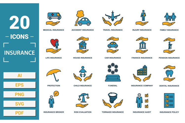 Insurance icon vector set in SVG, PNG, JPG, EPS, PDF, AI.