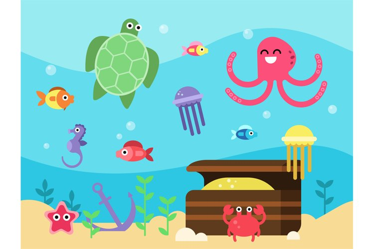 Vector illustrations set of underwater landscape with sea an