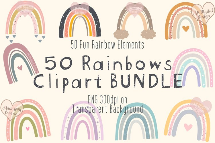 Boho Rainbow Clipart Bundle, Baby Nursery, Baby Shower, PNG