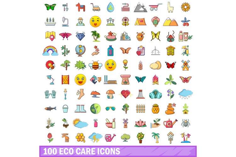 100 eco care icons set, cartoon style example image 1