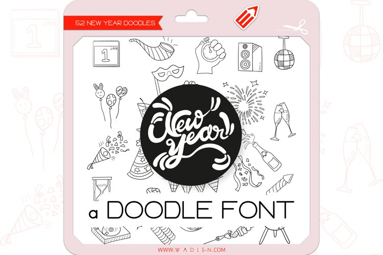 New Year Doodles - Dingbats Font example image 1