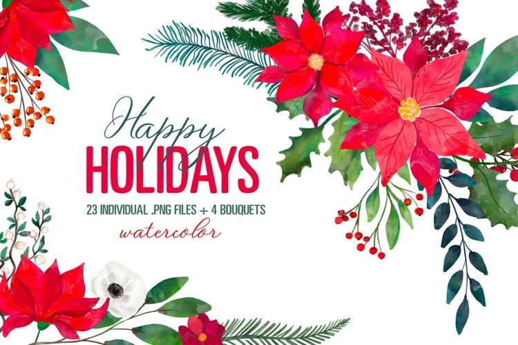 Christmas Floral Clipart Xmas New Year Bouquets PNG Images example image 1