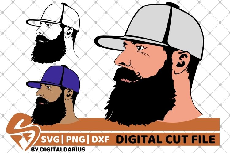 3x man with long beard svg, Face man svg, Hipster svg, Daddy example image 1