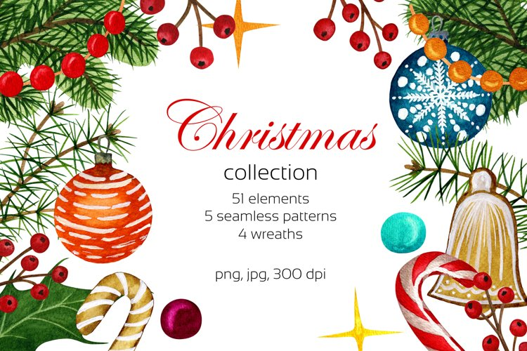 Christmas set. Watercolor clipart collection.