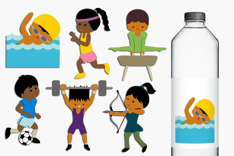 Summer sport, dark skin athletes clip art illustrations example image 1