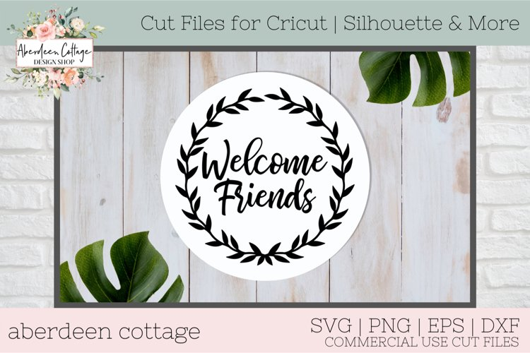 Welcome Friends Wreath SVG Design example image 1